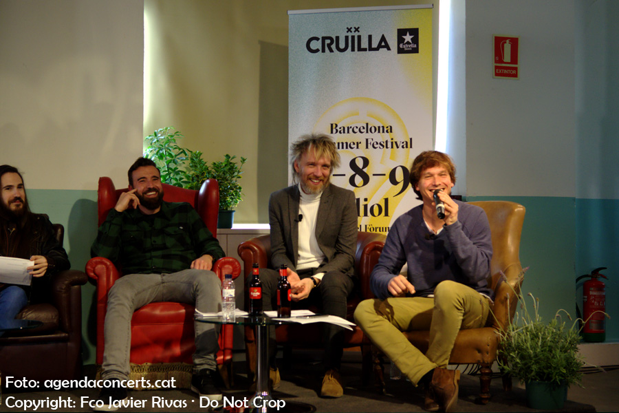 Presentació del Festival Cruïlla 2017 a l'Antiga Fàbrica Damm. D'esquerra a dreta: Carlos Sadness, Kiko Tur (Aspencat), Shuarma (Elefantes) i Ramon Mirabet.