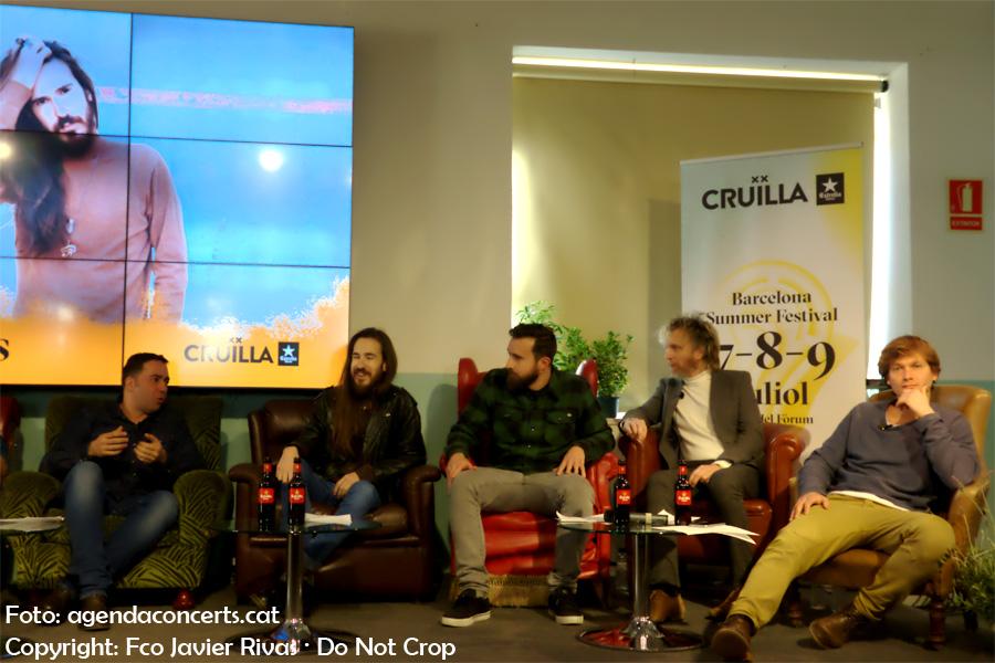 Presentació del Festival Cruïlla 2017 a l'Antiga Fàbrica Damm. D'esquerra a dreta: Jordi Herreruela (director del festival), Carlos Sadness, Kiko Tur (Aspencat), Shuarma (Elefantes) i Ramon Mirabet.