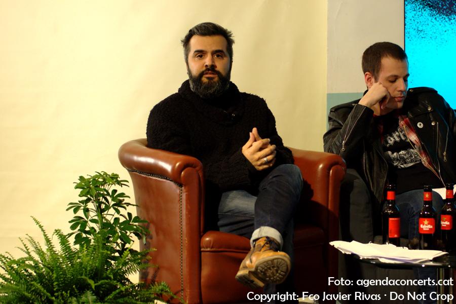 Presentació del Festival Cruïlla 2017 a l'Antiga Fàbrica Damm. D'esquerra a dreta: Julián Saldarriaga (Love of Lesbian) i Esteban J. Girón (Toundra i Exquirla).