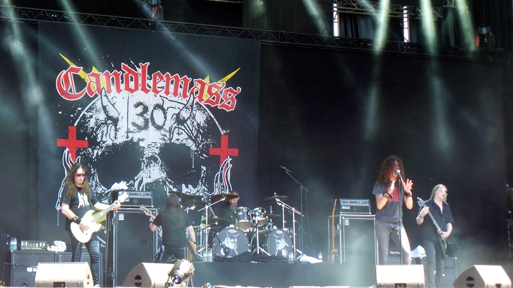 El grup de doom metal Candlemass, actuant al Rock Fest 2016 a Santa Coloma de Gramenet.