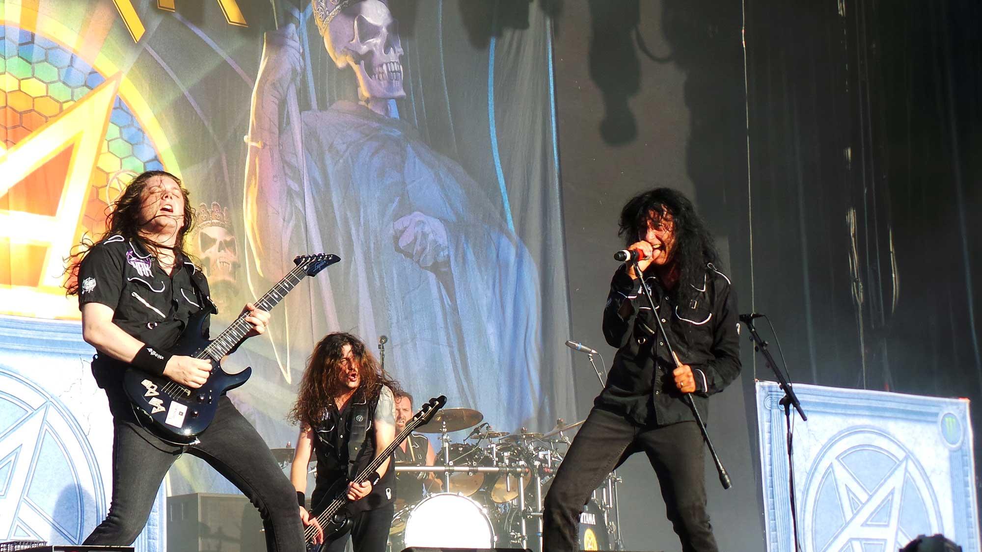 El grup de thrash metal Anthrax, actuant al Rock Fest 2016 de Santa Coloma de Gramenet.