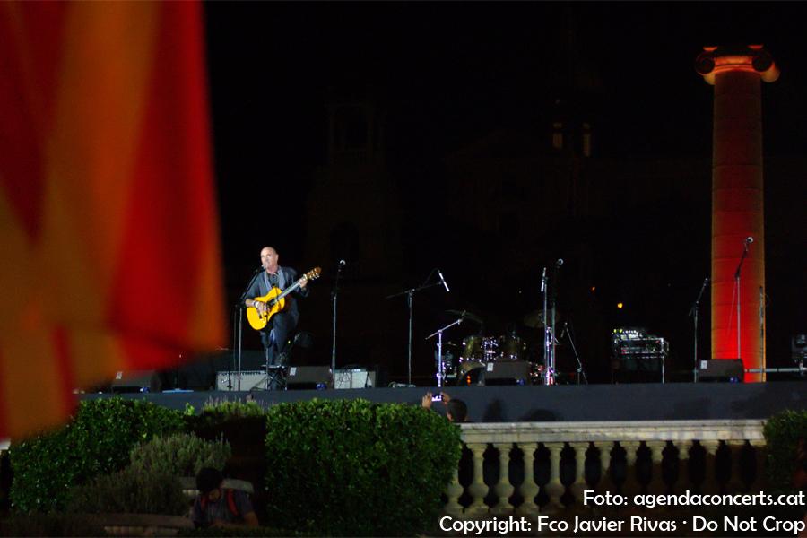 Lluís Llach interpreta 'L'Estaca' a l'acte final del Referèndum d'Independència de Catalunya a l'Avinguda Maria Cristina de Barcelona.