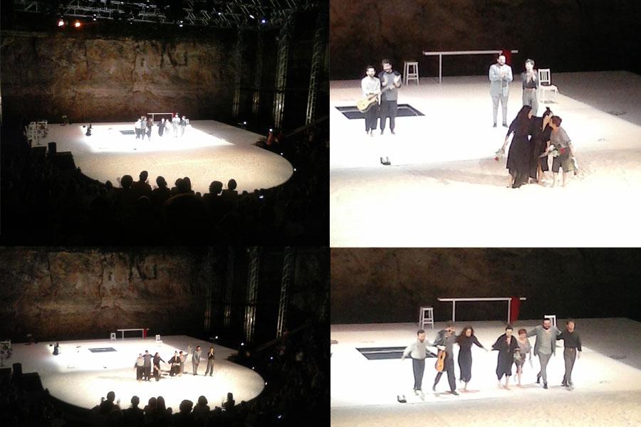 Moment dels aplaudiments al final de l'espectacle 'Grito Pelao' de Rocío Molina i Sílvia Pérez Cruz, en la seva primera nit al Festival Grec de Barcelona.
