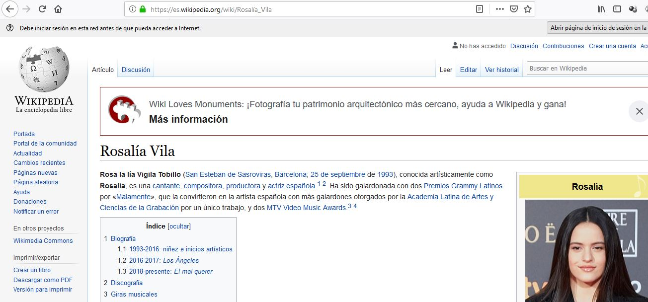 """La wikipedia en castellano cambia el nombre de Rosalía por """"Rosa la lía Vigila Tobillo"""""""